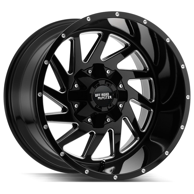 The M12 Wheel by Off Road Monster in Gloss Black Milled