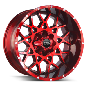 The M14 Wheel by Off Road Monster in Candy Red Milled