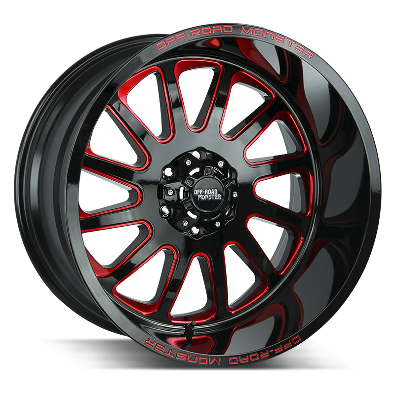 The M17 Wheel by Off Road Monster in Gloss Black Candy Red Milled