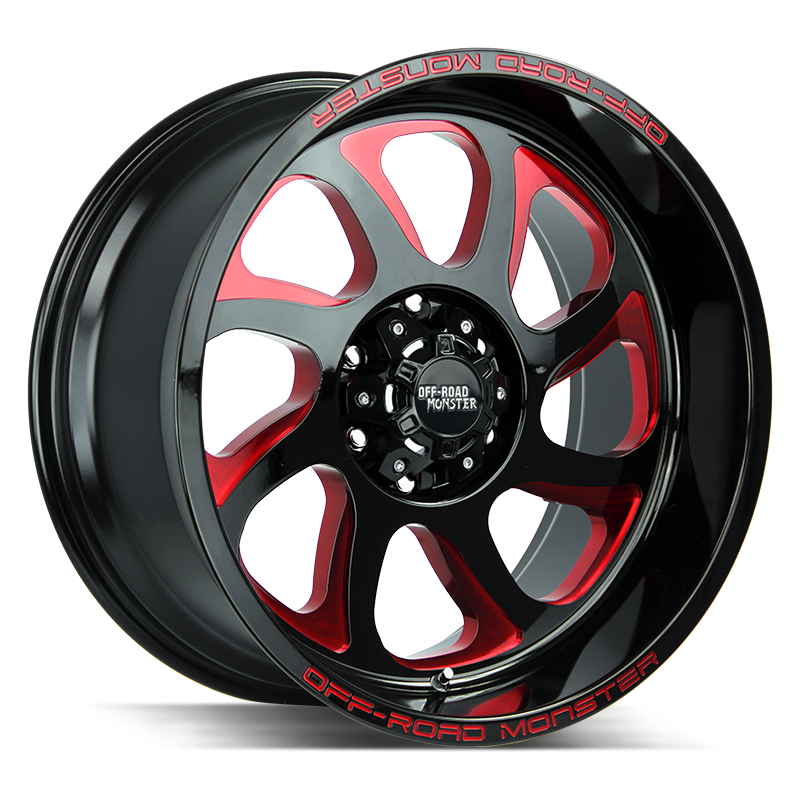 The M22 Wheel by Off Road Monster in Gloss Black Candy Red Milled