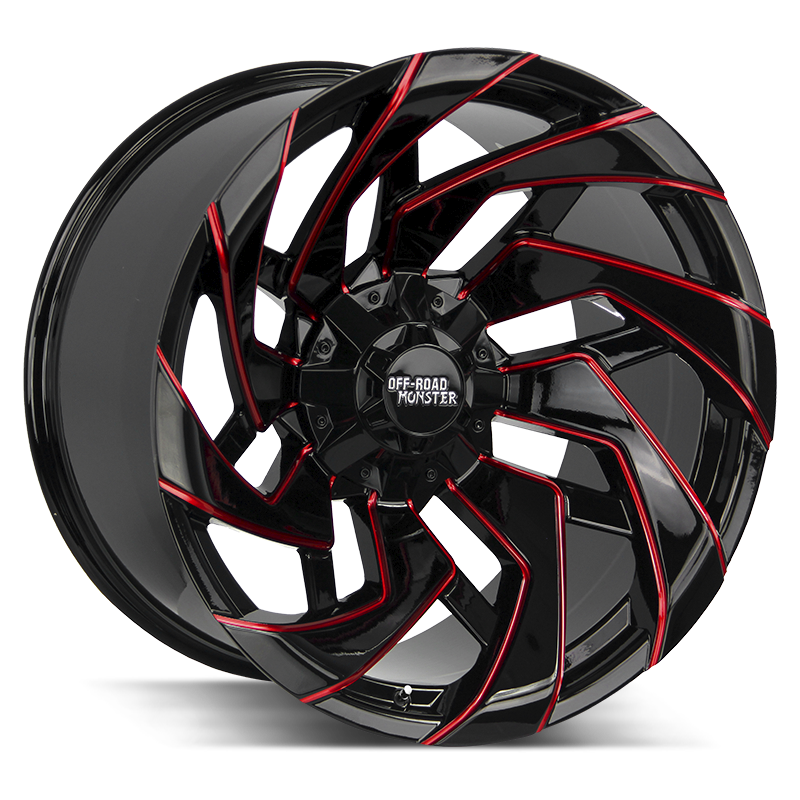 The M24 Wheel by Off Road Monster in Gloss Black Candy Red Milled