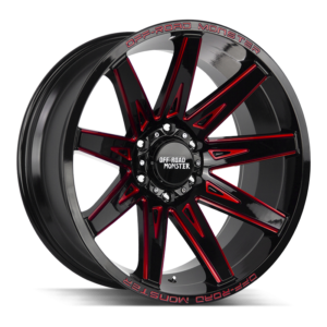 The M25 Wheel by Off Road Monster in Gloss Black Candy Red Milled