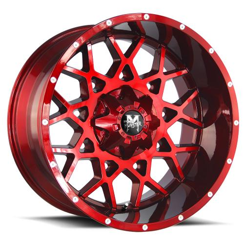MonsterOffroad M14 22x12 candy red milled 1000x1000