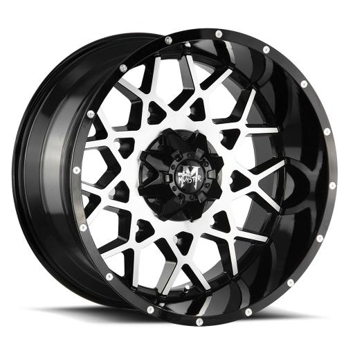 MonsterOffroad M14 22x12 gloss black machined face 1000x1000