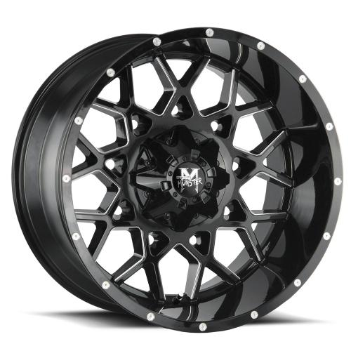 MonsterOffroad M14 22x12 gloss black milled 1000x1000