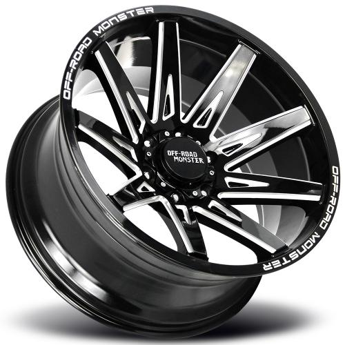 Monster M25 20x10 black milled lay