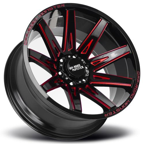 Monster M25 20x10 gloss black milled red lay