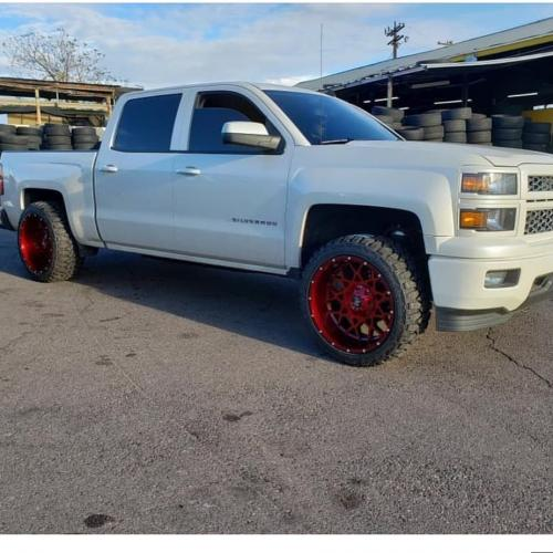 off road monster orm m14 candy red milled 22x12 white silverado