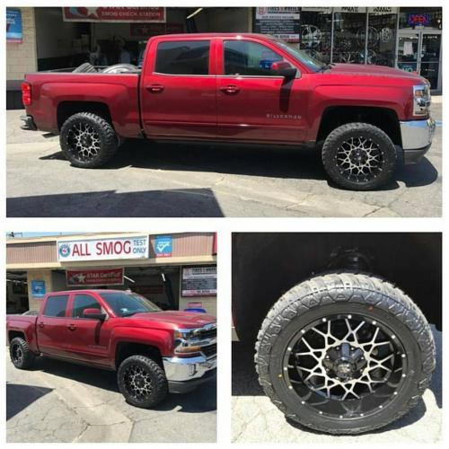 off road monster orm m14 gloss black machined 20x10 red silverado