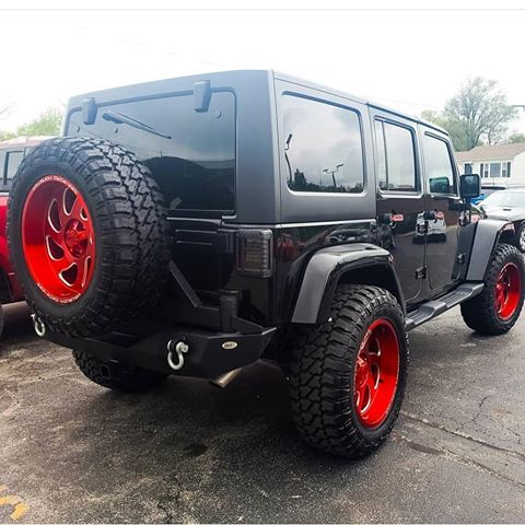 off road monster orm m07 black jeep wranger red wheels