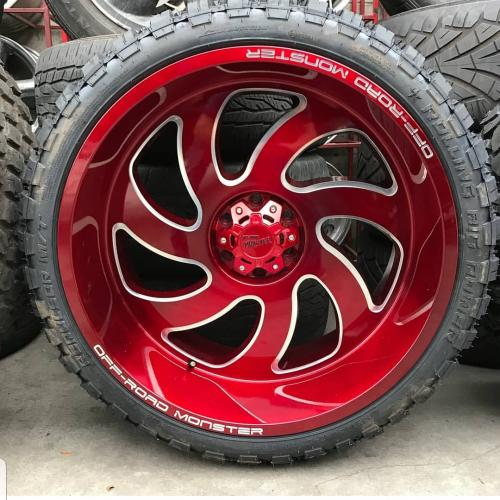 off road monster orm m07 candy red wheels 24x14