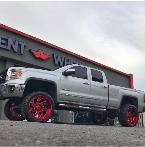 off road monster orm m07 silverado silver red wheels