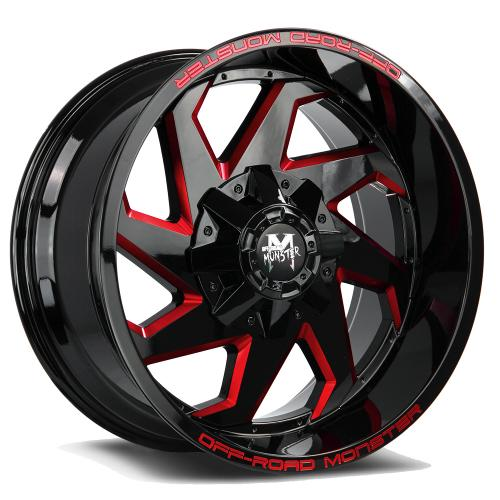 M09 20X10 Gloss Black Milled Red